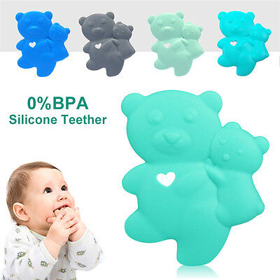 Bear Infant Baby Kids Silicone Teething Teether Food Grade Beads Chain Chew Toy