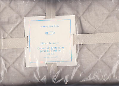 pottery barn kids Belgian flax linen crib bumper,color natural flax,nursery