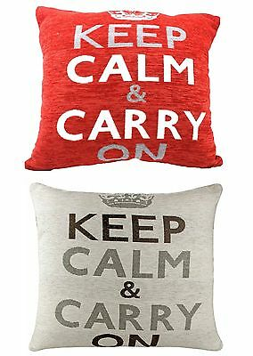 Chenille Cushion Cover 45cm x 45cm Keep Calm And Carry On