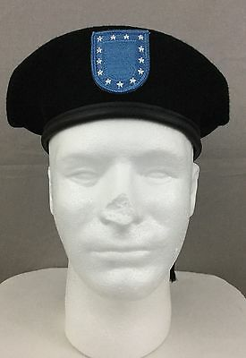 e711df287a032 U.S. Army Black Wool Beret w  Blue Flash Patch   Extra Flash Patch ALL SIZES
