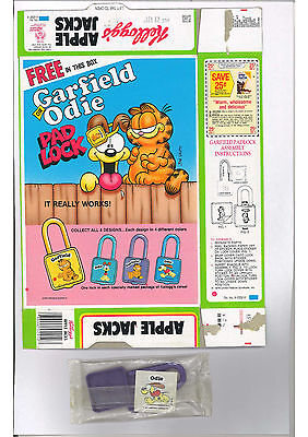 1987 Apple Jacks Cereal Box Flat w/ Garfield Odie Padlock Premium