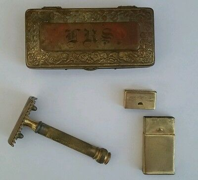 Antique Gilt Original Gentleman's Gillette Razor Kit With Original Case