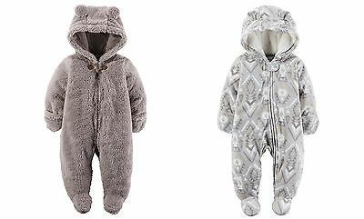 7426f9770 NWT CARTERS BROWN Sherpa Fleece Hooded Bunting Pram Snowsuit Baby ...
