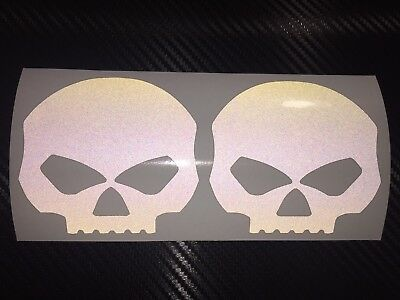 2x large Black REFLECTIVE Skulls - SAFETY Motorcycle Helmet Sticker Hi Viz