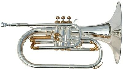 Silver F-mellophone, with case and mouthpiece - Karl Glaser