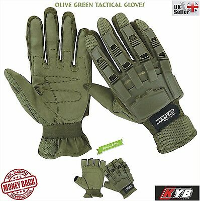 KYB OLIVE Army Paintball Full Half Finger Gloves Tactical Airsoft Hunting Armour
