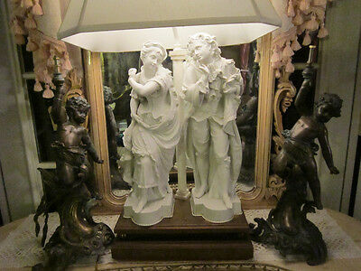 RARE Pair Antique French Rococo Figural patinated BRONZE Patti/cherubs Statues