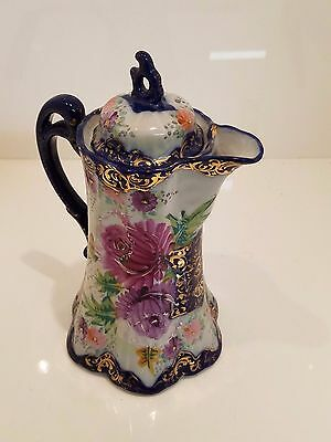 Antique floral ceramic chocolate pot
