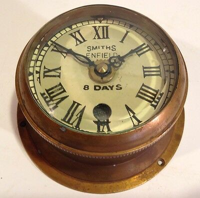 SMITH'S ENFIELD BRASS MOUNTED  SHIP'S CLOCK, MADE IN ENGLAND, 1911 8 Day Rare