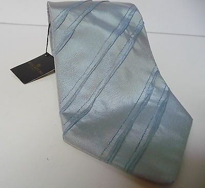 Bugatchi Mens New Blue Striped 100% Silk Classic Neck Tie Made in Italy