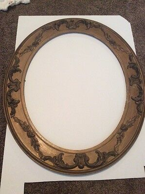 "Antique Wood Carved Ornate Oval Frame Picture Art Wooden 25 1/2"" X 21 1/2"""