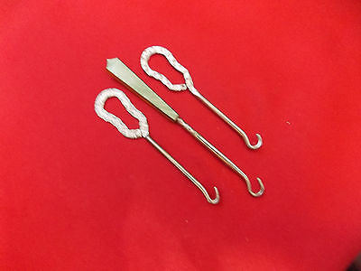 Antique, Vintage Mixed Lot of 3 Button Hooks, 2 are stamped metal,1 Marbled Top