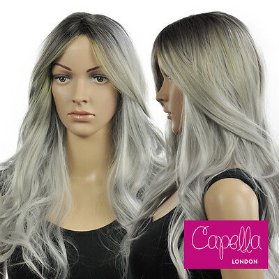 Capella London Layered Wavy Long Grey Gray Wig Hair Dark Roots Kylie