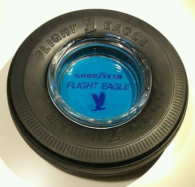 Vintage GOODYEAR Tire Ashtray Glass Insert Retro Flight Eagel