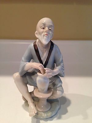Chinese Porcelain Figurine Figure of Scholar Seated at Potters Wheel with Vase