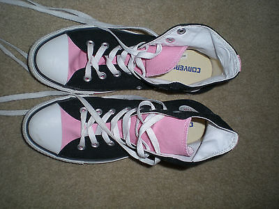 Unisex Converse All Star High Top Black Pink Womens 10  Mens 8