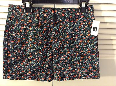Nwt Gap  Size 12 Girls Navy Blue  Floral Flower Shorts W Adjustable Waist