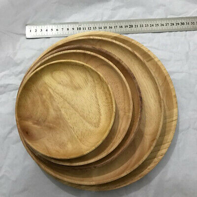 Round Wooden Plate Breakfast Food Snack Serving Tray Salad Bowl Platter Dish