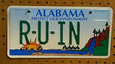 """2009 Alabama Protect Our Environment Personalized Vanity License Plate """"R-U-IN"""""""