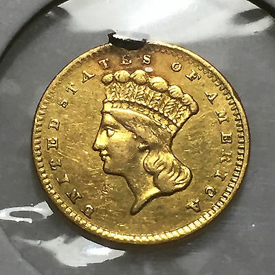 1856 Type III Indian Head Gold $1 Dollar - AU Details - Double Die Reverse DDR