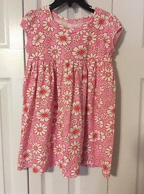 Carter's Girls Size 4 Pink Red White Floral Cap Sleeve Cotton Dress Euc
