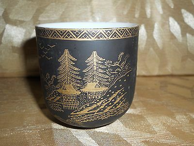 Kutani China Black Matte Cup Hand Painted with Gold
