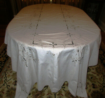 Rare XL Vintage Ecru Tablecloth Madeira Lace Candle Stitch 118 X 68 Mint