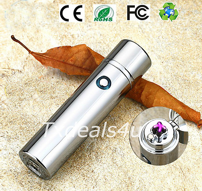 Dual Arc Electric USB Lighter Rechargeable Plasma Windproof Flameless Cigar Pipe