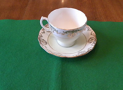 Royal Vale Tea Cup & Saucer- Mint Green & Gold Floral Bone China Made in England