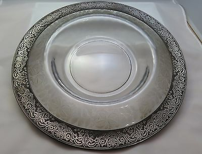"Large Antique Floral Art Deco Cut Glass & Sterling Silver 15"" Serving Bowl"