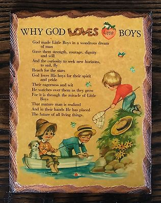 Vintage WHY GOD LOVES LITTLE BOYS Wall Hanging Plaque, Boy Room Decor