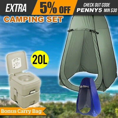 20L Outdoor Portable Toilet + Camping Pop Up Shower Tent Change Room AU POST