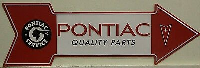 PONTIAC quality parts Arrow Metal Sign vintage logo embossed firebird trans am
