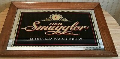 "Vintage Old Smuggler 12 Year Old Scotch Whisky Bar Mirror Sign 27.5""X 20.5"" RARE"