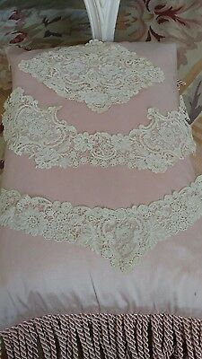 SHABBY ANTIQUE vtg lace remnants tambour VICTORIAN COLLARS?