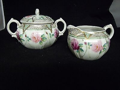 Vintage Hand Painted Creamer and Sugar Bowl - Roses with 24Kt Gold Trim ~ Beauty