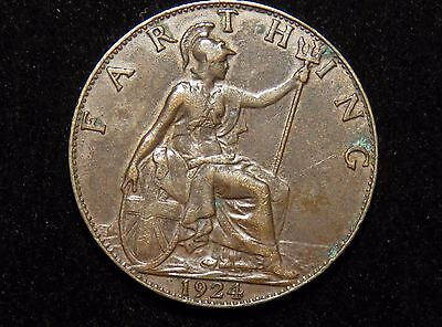 Nice 1924 Great Britain Farthing Coin Lot 233