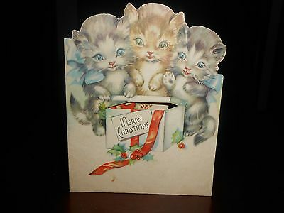 Vintage UNIQUE 1940's KITTENS POP UP Merry Christmas Greeting Card