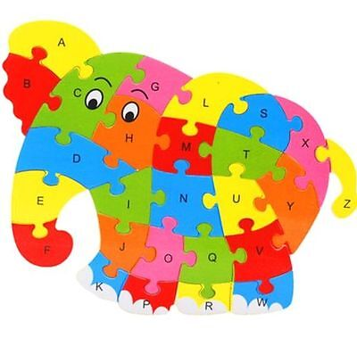 Wooden Blocks Kid Child Educational Alphabet Puzzle Jigsaw Toy ~Elephant~ ^