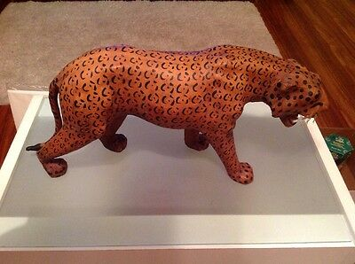 """Vintage Large Leather Clad Leopard, 10.5"""" Tall 22"""" In Length"""