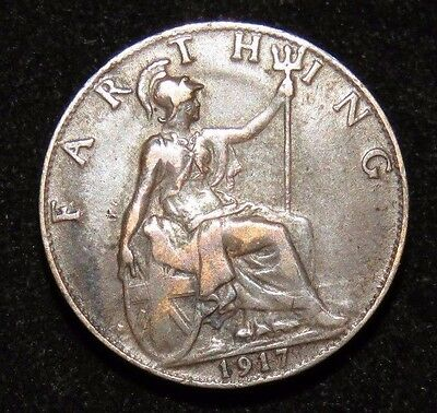 Nice 1917 Great Britain Farthing Coin Lot 223