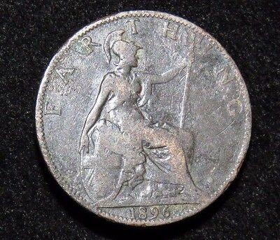 1896 Great Britain Farthing Coin Lot 218