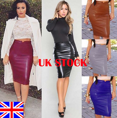 UK Women PU Faux Leather High Waisted Back Split Bodycon Midi Pencil Skirt Party