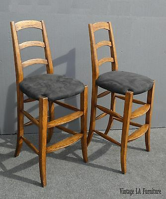 Pair Vintage French Country Black BAR STOOLS by Minton Spidell