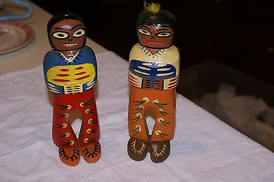 Vintage hand carved &painted pair of wood Native American Indians WALL HANGING