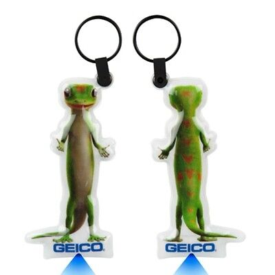 2 lot GEICO GECKO Lizard Advertisement Key Chain LED Illuminating Flashlight NEW