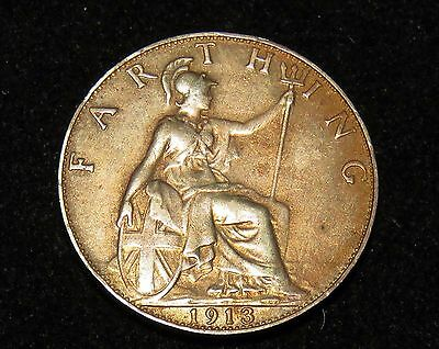Nice 1913 Great Britain Farthing Coin Lot 213