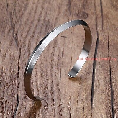 Fashion 316L Stainless Steel Silver Cuff Bangle Mens Womens Jewelry Bracelet 6mm