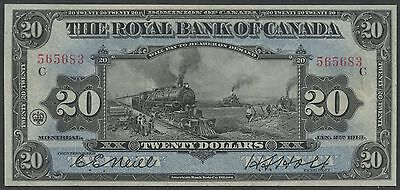 "Canada #630-12-12 $20 Royal Bank Of Canada 1913 ""train"" Note Xf Wlm3014"