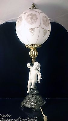 Antique German Porcelain and Glass Cherub Figuring electric lamp
